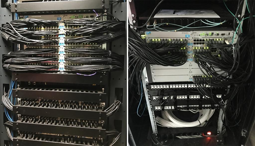 Parte de la infraestructura de switching HP utilizada en el proyecto.
