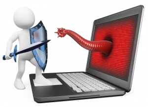3d white person. Antivirus metaphor. Knight fighting worm virus. 3d image. Isolated white background.