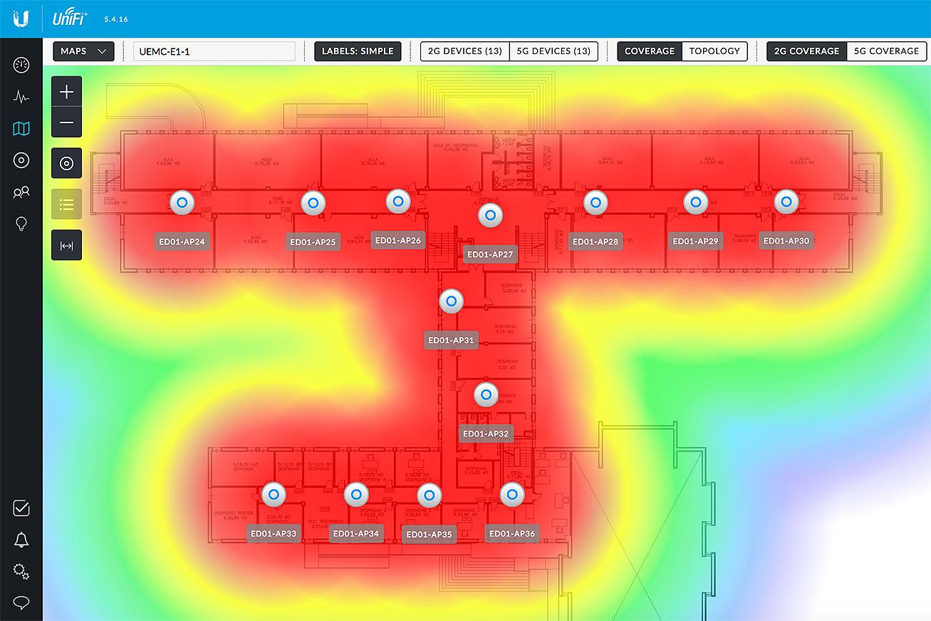 Visualización del mapa de cobertura de una de las plantas del centro desde el Unifi Controller.